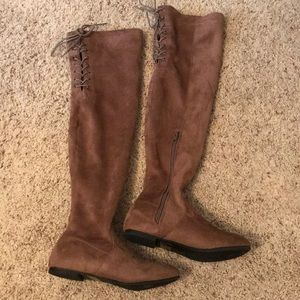 Shoes - Over-the-knee tan suede boots